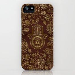 Decorative Hamsa Hand with paisley background iPhone Case