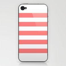 Coral White Stripes iPhone & iPod Skin