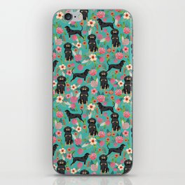 Coonhound floral pattern dog breed customized pet portrait gifts for dog lover iPhone Skin