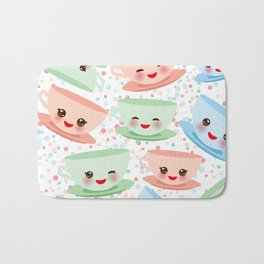 Cute blue pink green Kawai cup, coffee tea with pink cheeks and winking eyes, polka dot background Bath Mat