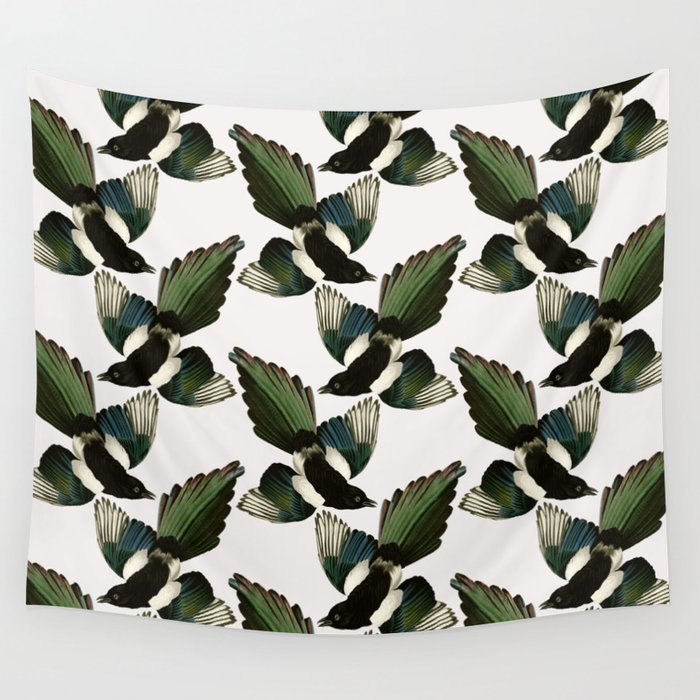 A Tiding Of Magpies Wall Tapestry