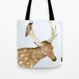 Deer and Bird Tote Bag