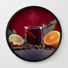 Photo Christmas Orange fruit Star anise Illicium L Wall Clock