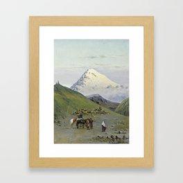 zommer, richard karlovich - Caravanserai at the Foot of Mount Kazbek 1 Framed Art Print