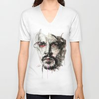 johnny depp V-neck T-shirts featuring Johnny Depp by KlarEm