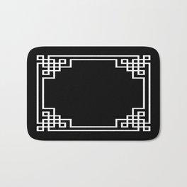 Black White Lattice Frame Bath Mat