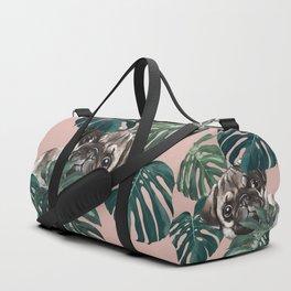 Pug with Monstera Leaf Duffle Bag