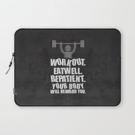 Lab No. 4 - Work Out Eat Well Be Patient Gym Motivational Quotes Poster Laptop Sleeve