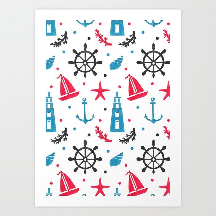 Sea Nautical Pattern Art Print
