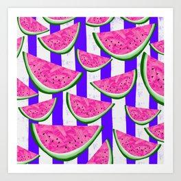 Watermelon Crush on purple stripes Art Print