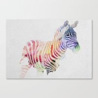 zebra Canvas Prints featuring Colourful Zebra by Andreas Lie