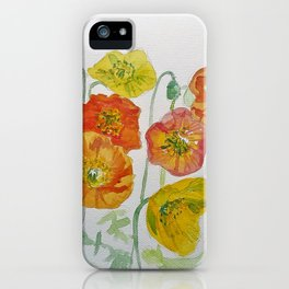 Orange and Yellow Iceland Poppies Watercolour iPhone Case