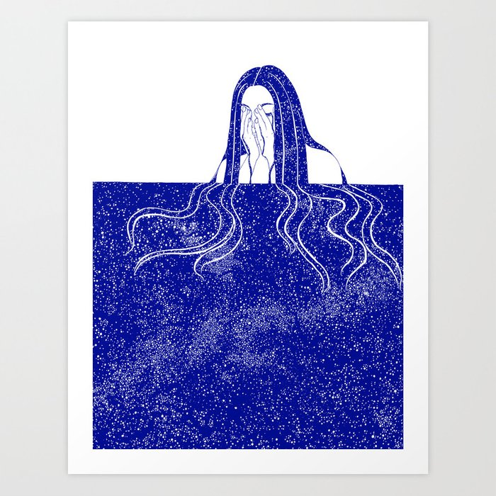 She Weeps Blue Art Print