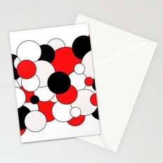 Bubbles - red, black, gray and white. Stationery Cards