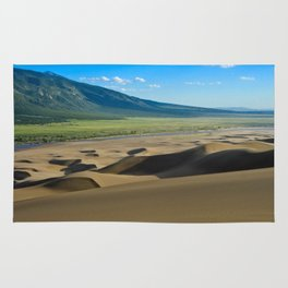 Great Sand Dunes against mountains Rug