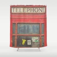 telephone Shower Curtains featuring Telephone by Benjamin Robles Art
