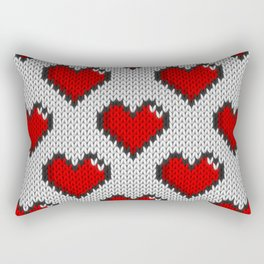 Knitted heart pattern - white Rectangular Pillow
