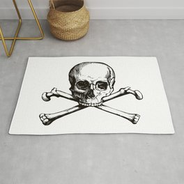 Skull and Crossbones | Jolly Roger | Pirate Flag | Black and White | Rug