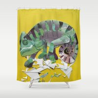 chameleon Shower Curtains featuring chameleon by Ruud van Koningsbrugge