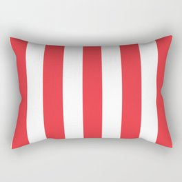 Deep carmine pink - solid color - white vertical lines pattern Rectangular Pillow