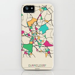 Colorful City Maps: Dusseldorf, Germany iPhone Case