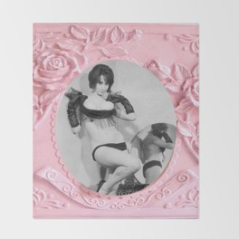 Femme Fatale - Pin Up - Pastel Pink Frame - Roses  Throw Blanket