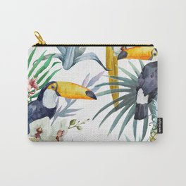 Big Tropical Pattern Toucans Parrot Pineapples Carry-All Pouch