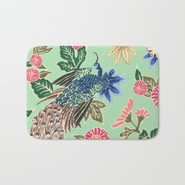 Peacock Floral in Mint Bath Mat