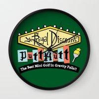 gravity falls Wall Clocks featuring Gravity Falls Mini Golf by pondlifeforme