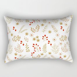 Gold and Red Christmas Flowers Rectangular Pillow
