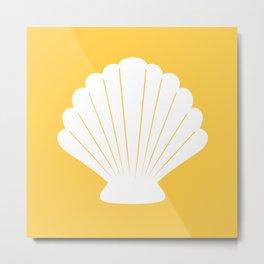 Seashell (White & Light Orange) Metal Print