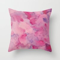 beth hoeckel Throw Pillows featuring Beth Rose Watercolor by Em Beck