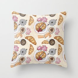 Good Morning Strawberries, Croissants And Coffee Pattern Throw Pillow