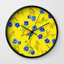 YELLOW & BLUE FLORAL Wall Clock