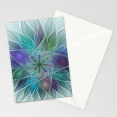 Colorful Fantasy Flower Fractal Art Abstract Stationery Cards