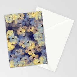 Floral Mauve-Blue-Yellow Stationery Cards