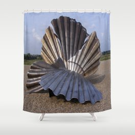 The Scallop sculpture by Maggi Hambling.  Shower Curtain