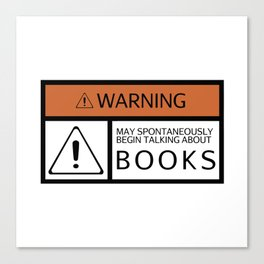 WARNING: Books Canvas Print