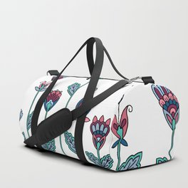 Spring Flowers White Duffle Bag