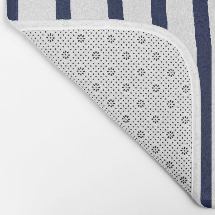 Simply Drawn Vertical Stripes Nautical Navy Blue on White Bath Mat