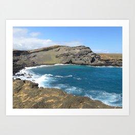 Green Beach and Turquoise Ocean Art Print