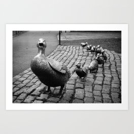 Make Way For Ducklings - Boston Public Garden in Black and White Art Print