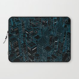 Night light city / Lineart city in blue Laptop Sleeve