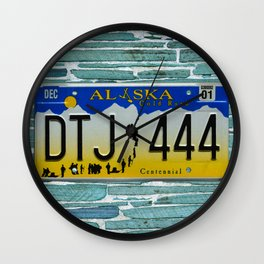 Alaska Gold Rush Tag Auto Car Automobile Automotive License Plate Wall Clock