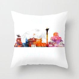 Colorful watercolor Sofia skyline Throw Pillow