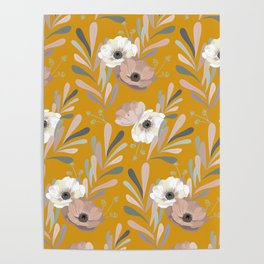Anemones & Olives Yellow Poster
