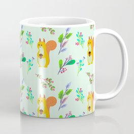 Cute hand painted yellow orange squirrel teal coral floral pattern Coffee Mug