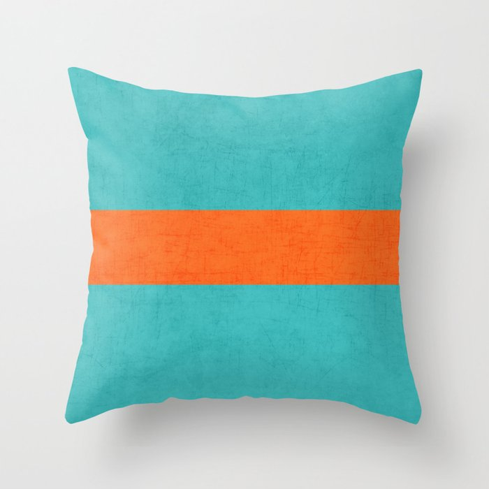 Aqua And Orange Clic Throw Pillow