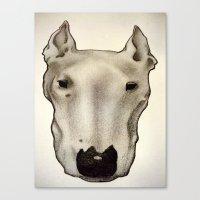 bull terrier Canvas Prints featuring Bull Terrier by Caroline Blicq