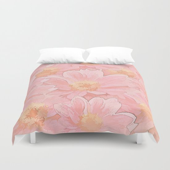 Pretty In Pink Painterly Floral  Duvet Cover